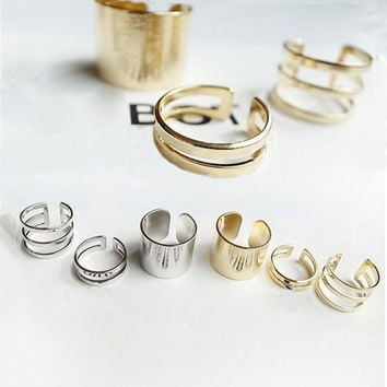 JZ234 3 pcs lot Shiny Punk Polish Gold Color Stack Plain Band Midi Mid Finger Knuckle Ring Set high quality Rock 2 colors