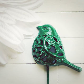 Green Filigree Bird Hook / Shabby Chic Wall Decor / Metal Wall Decor /  Green Home Decor / Housewarming / For the Home / Garden Decor