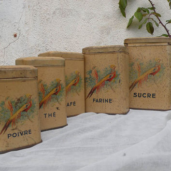 French vintage tins. chic antique vintage storage tins, storage canisters. kitchen storage, french vintage kitchen, french vintage tins