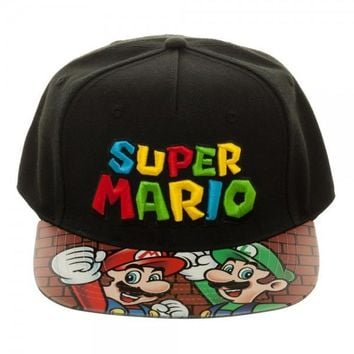 Super Mario Bros. Printed Vinyl Bill Flatbill Hat
