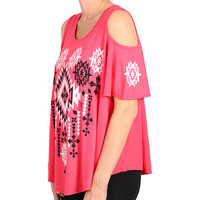 Vocal Women's Aztec Shoulder Cutout Short Sleeve Shirt