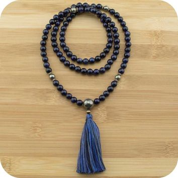 Blue Sandstone Mala with Golden Pyrite