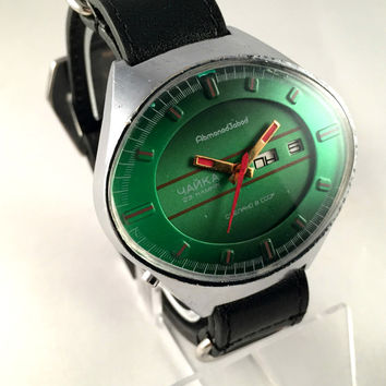 """EXCLUSIVE RARE men's watch""""Chaika""""(Seagull)  AUTOMATIC, 23 jewels .Vintage Soviet wristwatch.Hard to find watch! Gift for him"""