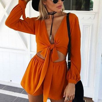 V-neck long-sleeved lace jumpsuit shorts leotard