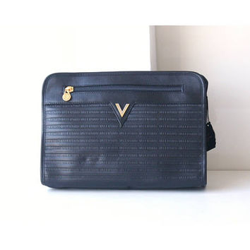 Mario Valentino Black Leather second bag vintage authentic purse