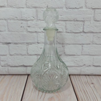 Vintage Round Clear Cut Glass Decanter