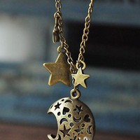 retro hollow out moon stars bronze pendant necklace