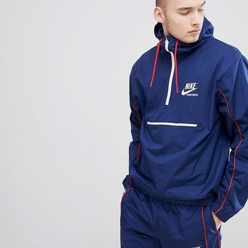 Nike Archive Half Zip Woven Jacket In Navy 941877-429 at asos.com