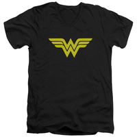 DC/WONDER WOMAN LOGO-S/S ADULT V-NECK 30/1-BLACK