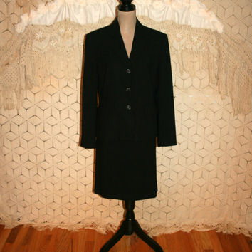 90s Black Skirt Suit Womens Black Suit Vintage Business Suit 1990s Office Clothing Minimalist Suit Nygard Size 10 Medium Womens Clothing