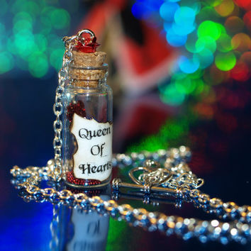 Queen of Hearts Magical Staff Necklace Red Rose, Alice in Wonderland, Disney Fashion