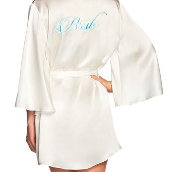Naked Princess Silk Bridal Robe - Bride in Blue