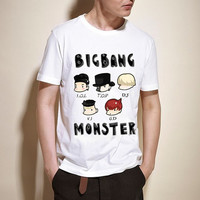 K-POP Bigbang  White Cartoon Monster Unisex T-shirts S, M, L, XL, XXL