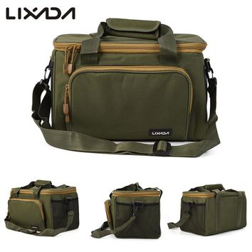 Lixada Men Fishing Bag Reel Lure Bag Canvas Multifunctional Outdoor Waist Shoulder Bags Storage Fishing Tackle Pesca 37*25*25cm