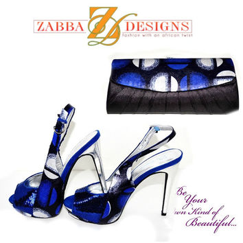 Blue And Black African Ankara Wax  Print Luxury Slingback & Purse Perfect Set, African Ankara Shoes