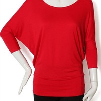 Wide Scoop Neck Banded Batwing Dolman Sleeve Knit Top Slouchy Jersey Tee Shirt Top