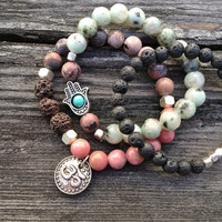 OM & HAMSA Bracelet Set - Lotus Jasper, Lava, and Pink Rhodonite