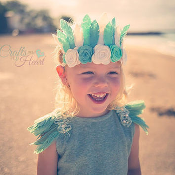 Boho Feather Headband - Crown Headband - Feather Crown - Flower Crown - Feather Headpiece - Felt Feather Crown - Flower Headband - Mint Teal