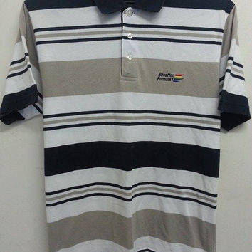 Sale Vintage 1990s Benetton Formula 1(F1) Stripe Indie Mods Fashion Polo Shirt