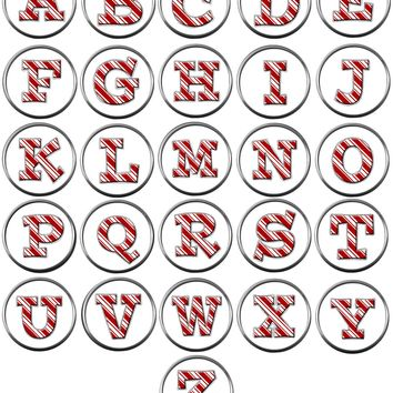 Candy Cane Strype Christmas Monogram Alphabet Letter For Winter Holidays 18MM - 20MM Snap Charm Jewelry