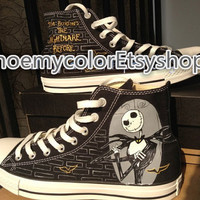 The Nightmare Before Christmas Custom Converse Shoes Nightmare Before Christmas On Lacal Brand Shoes 59.99USD Paint On Converse Shoes 79.99