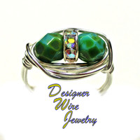 DWJ0370 Stunning Czech Art Glass Green Turquoise Duet Silver Wire Wrap Ring All