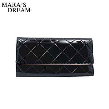 Mara's Dream PU Leather Trifold Long Women Wallet Hasp Female Plaid Clutch Purse Credit Cards Holder 3 Folding Slim Money Bags