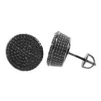 Mens Black Finish Sterling Silver Earrings