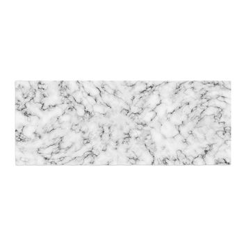 "Will Wild ""Marble"" White Gray Bed Runner"