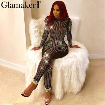 Glamaker Hot drilling transparent women jumpsuit romper Long sleeve bodycon sexy jumpsuit christmas Party jumpsuit leotard