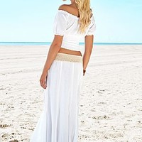 Off Shoulder Gauze Crop Top