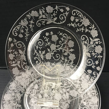 Fostoria Buttercup Floral Etched Lunch Plates, Buttercup Pattern Etched Clear Glass Dining Plates