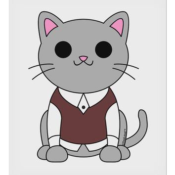 "Cute Sweater Vest Cat Design 9 x 10.5"" Rectangular Static Wall Cling by TooLoud"