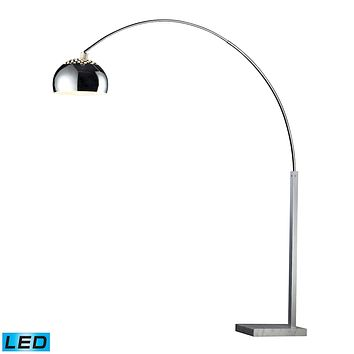 Penbrook LED Arc Floor Lamp In Chrome With White Marble Base