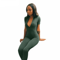 Womens Jumpsuit Polyester 2017 winter style women deep v neck jumpsuit Brand new long pants  jumpsuits Green overall women