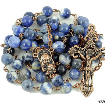 Traditional Rosary Catholic Sodalite Natural Stone Antique Copper Rustic