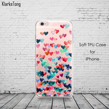 Colorful Falling Hearts Clear Phone Case For iPhone 7 7Plus 6 6s Plus 5 5s SE