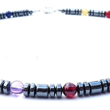 Men's Chakra Necklace: Hematite 7 Gemstone Chakra Necklace