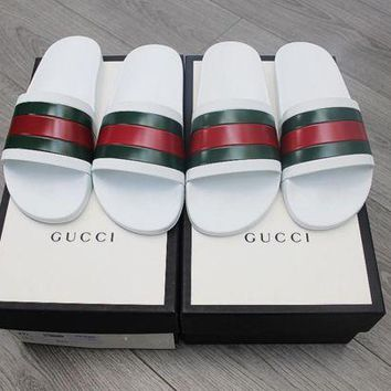 ONETOW White Gucci Slides