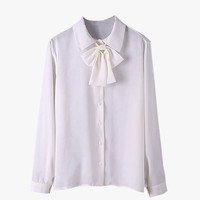 White Bow Tie Button Front Blouse