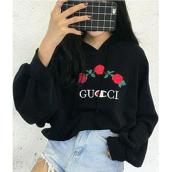 Winter Women Fashion Embroidery Rose Flower Top Sweater Pullover Hoodie