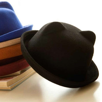 Fashion Wool Parent-Child Women Fedora Bowler Hats Derby Cat Ear Cap = 1958037700