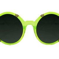 Spitfire - Gypsy Moth See Thru Neon Green & Gold Sunglasses, Black Lenses