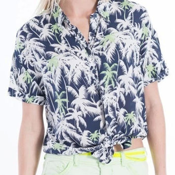 Blue Coconut Tree Print Tie Front Short Sleeve Blouse