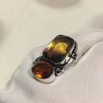 Vintage genuine Citrine Ametrine Art Glass ring