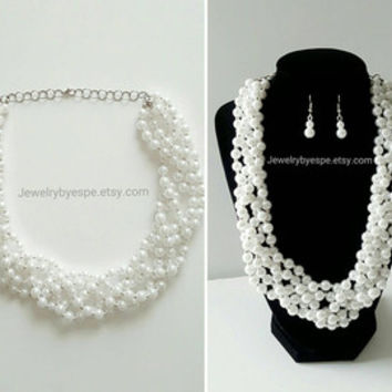 Pearl Necklace Statement Necklace Silver Chunky Necklace Bridesmaid Gifts  Wedding Gifts for her f7e44a8f7