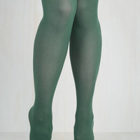 Vintage Inspired Root of the Flatter Tights in Viridian Size OS by ModCloth