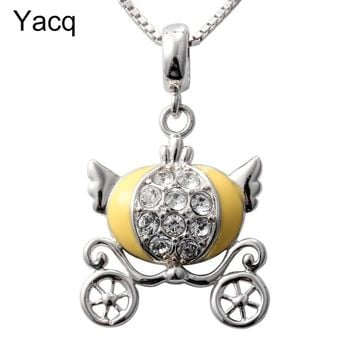Yacq 925 Sterling Silver Pumpkin Necklace Pendant W Chain Party Jewelry Birthday Gift Women Girls Daughters Her HN01