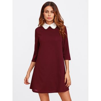 Pearl Beaded Contrast Collar Keyhole Back Dress Burgundy