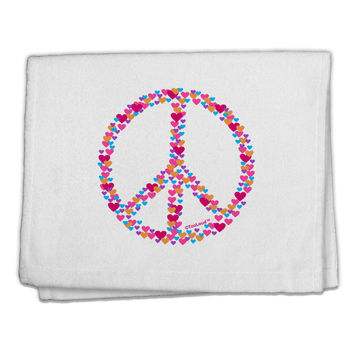 "Peace Sign Hearts 11""x18"" Dish Fingertip Towel"
